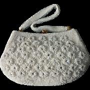 White Beaded & Rhinestone Daisy Pattern Purse