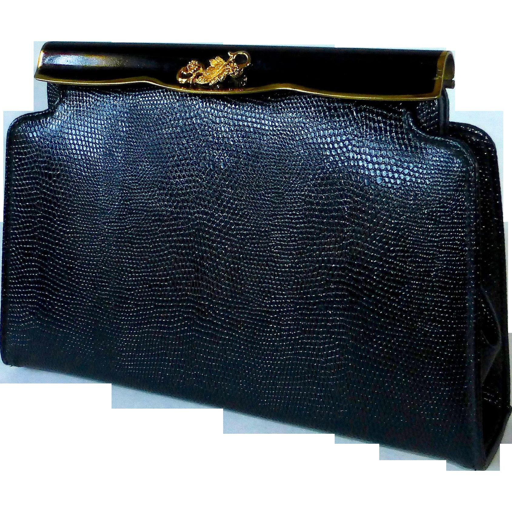 Fine Quality Lizard All Leather Clutch Purse Enamel Frame