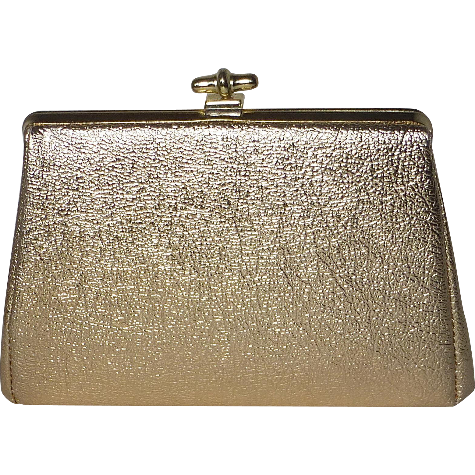 Metallic Gold Faux Leather 1950s Evening Purse