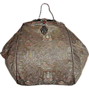 Silk Brocade Jeweled Top Evening Purse Oriental Motif