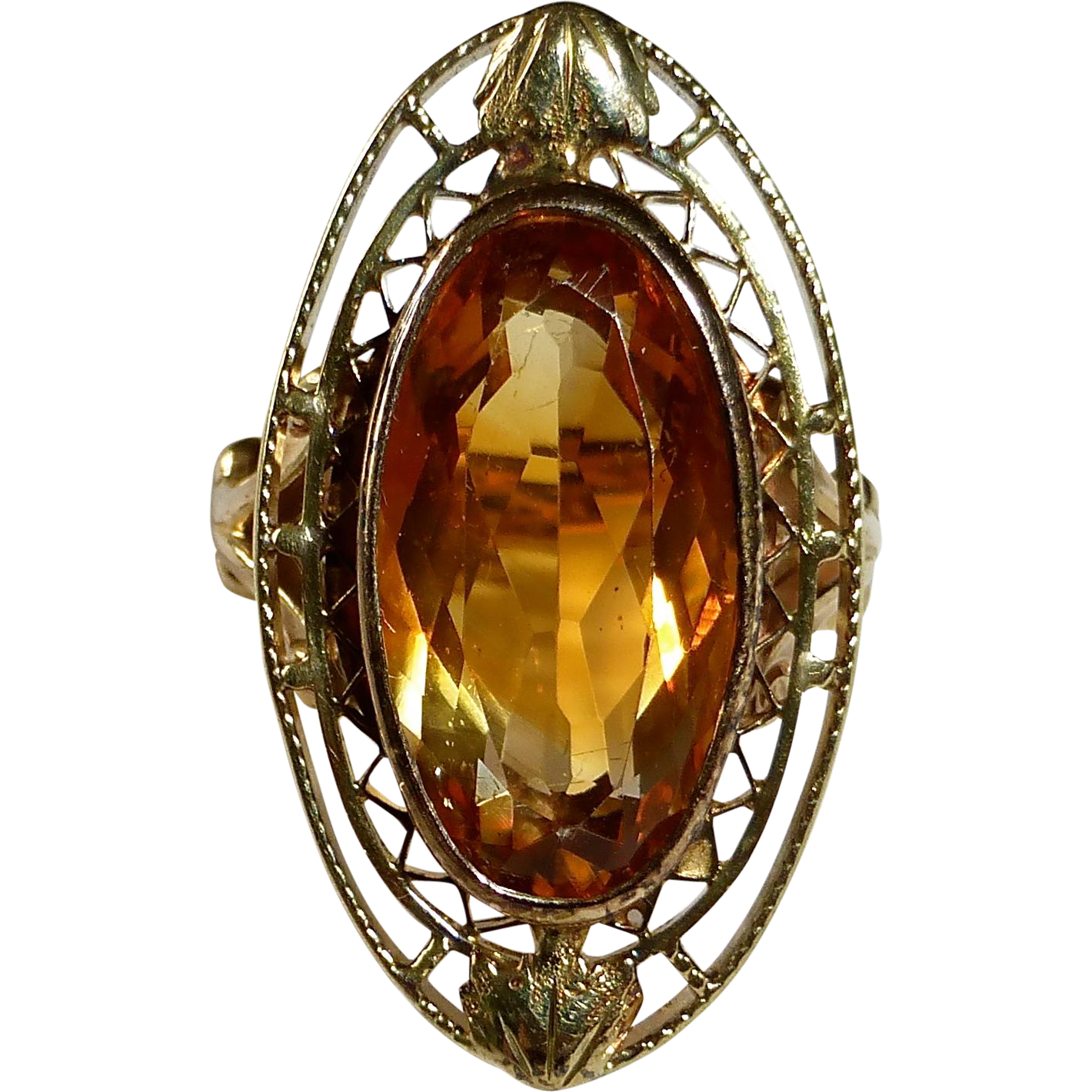 Edwardian 10k Yellow & Rose Gold Citrine Ring