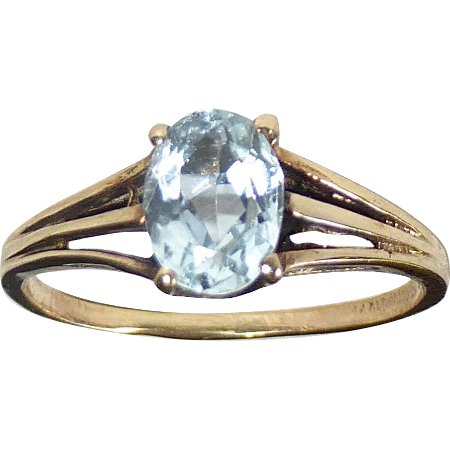 Aquamarine Mid Century 10k Yellow Gold Ring