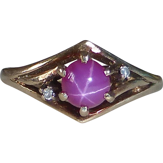 10k Rose Gold Synthetic Star Ruby Ring Diamond Accents
