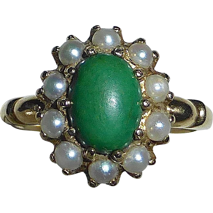 Antique Edwardian 10k Ring Green Turquoise w Pearl Frame
