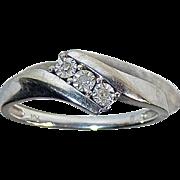 10k White Gold Bypass Ring 3 Small Diamonds
