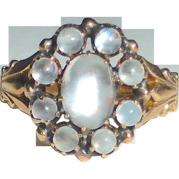 14k rose gold victorian moonstone rosette ring sold ruby