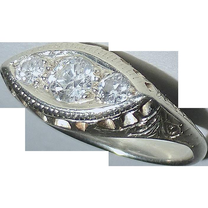 14k Art Deco White Gold 3 Diamond Ring
