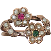15k Rose Gold Ring ~ Seed Pearl Flowers Ruby & Emerald