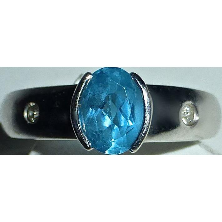 14k White Gold Blue Topaz & Accent Diamonds Ring