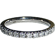 14k White Gold Band Ring 11 Diamonds