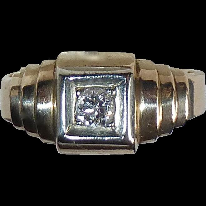 14k Diamond Ring Stepped Art Deco Stepped Setting