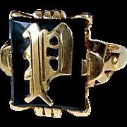 14k Yellow Gold & Onyx Initial 'P' Ring