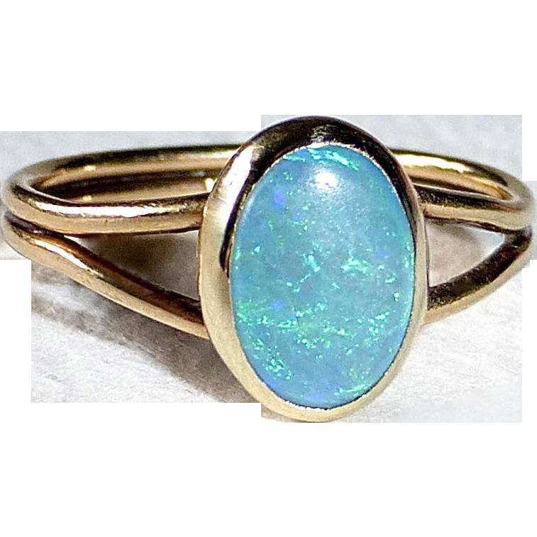 14k Bezel Set Opal Split Band Ring
