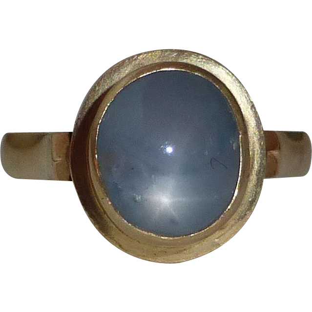 14k Natural Blue Star Sapphire Ring