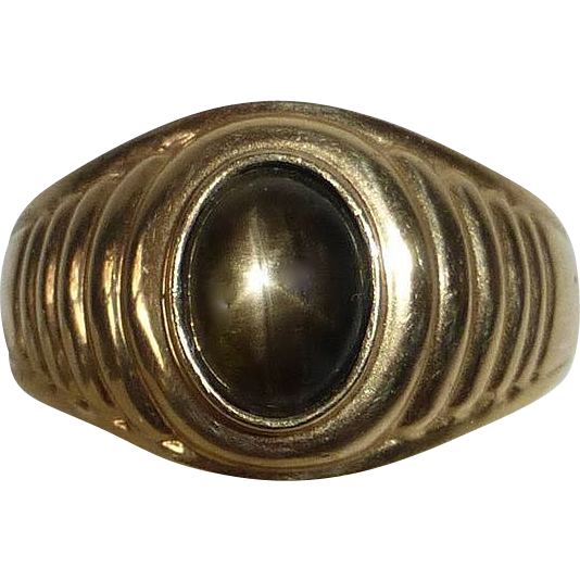 14k Yellow Gold Black Star Sapphire Ring