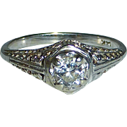 Art Deco 14k White Gold Filigree Diamond Ring