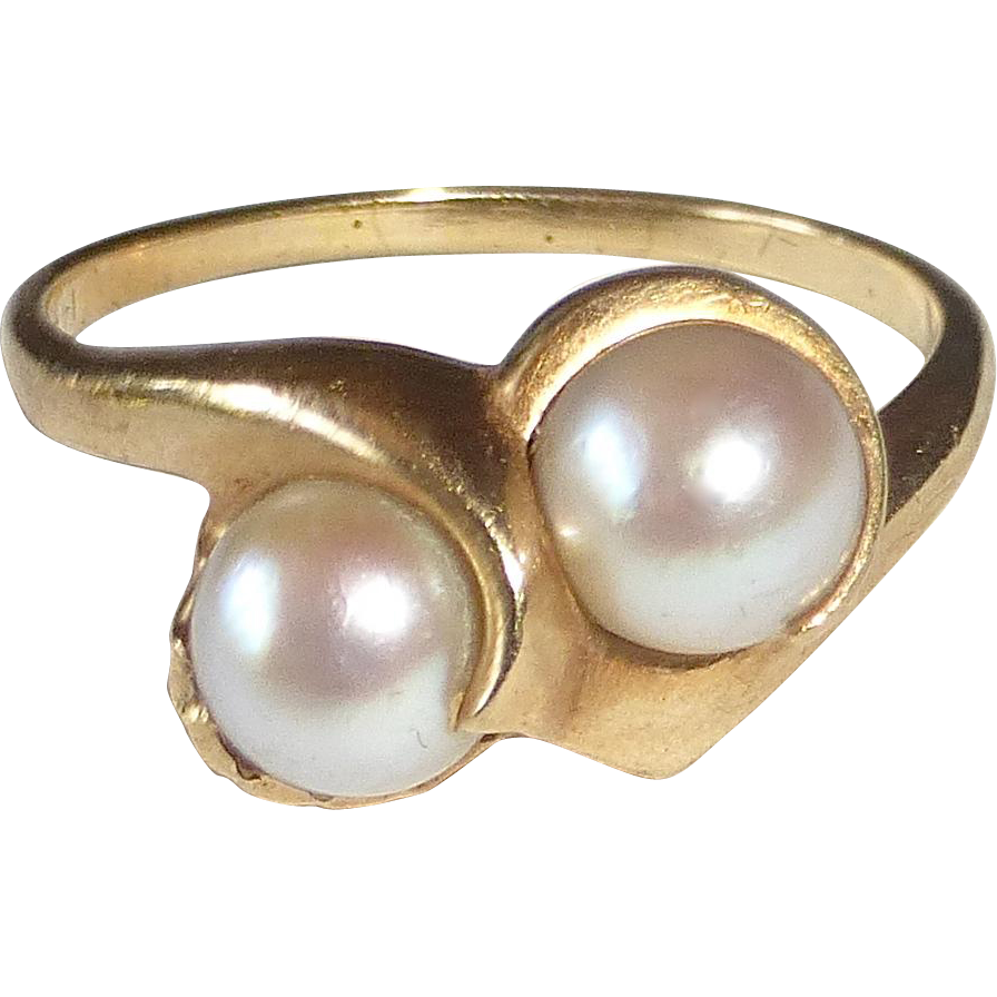 14k Mid Century Modern Double Pearl Ring