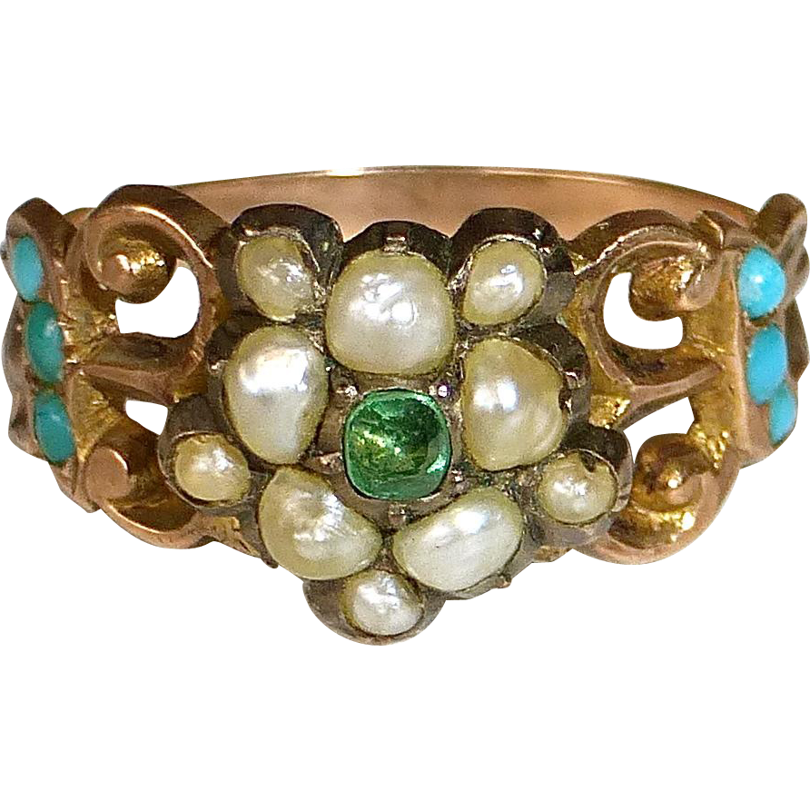 Georgian 15k Rose Gold Ring Emerald Seed Pearls Turquoise