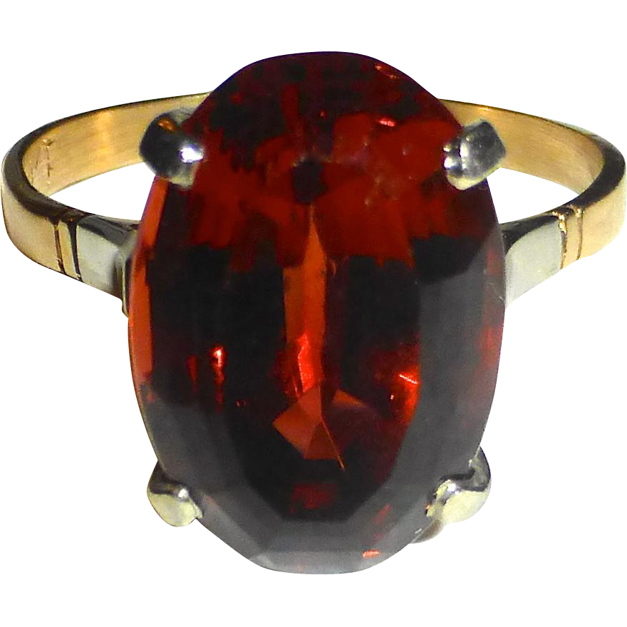 Genuine Imperial Topaz 18k Yellow Gold Ring