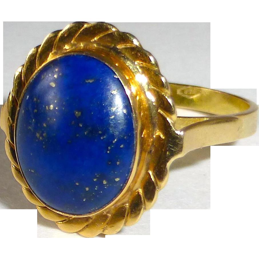 Italian 18k Lapis Lazuli Cabochon Ring