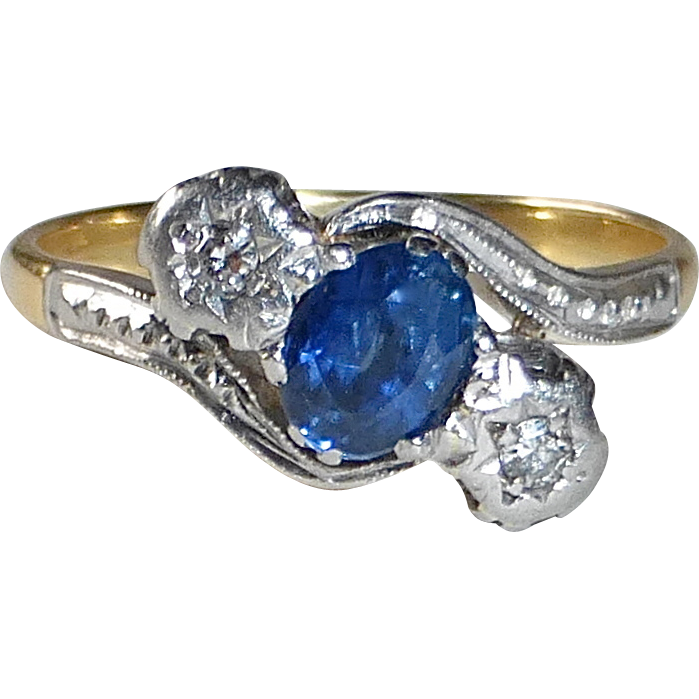 Art Deco 18k Genuine Sapphire & Diamond Ring