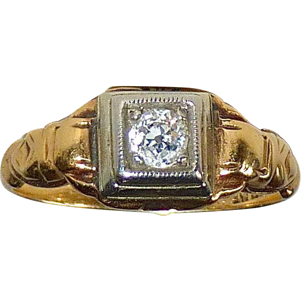 14k & 18k Art Deco Diamond Ring