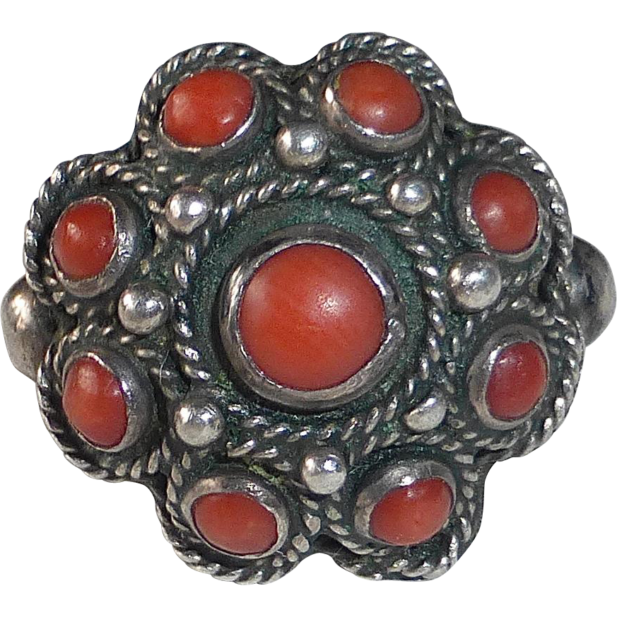 Italian 800 Silver Coral Rosette Ring