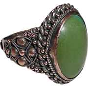 Old Chinese Turquoise Ring Ornate Copper Setting