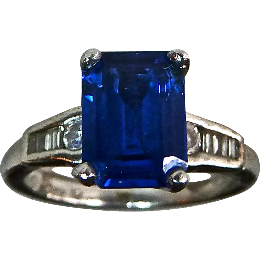 Art Deco Platinum Ring Synthetic Sapphire & Diamonds