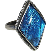 Rare Art Deco Sterling Natural Iridescent Butterfly Wing Ring