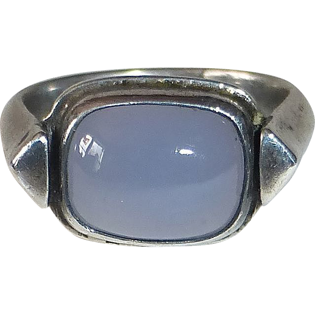 Sterling Silver Chalcedony Modernist Handcrafted Ring