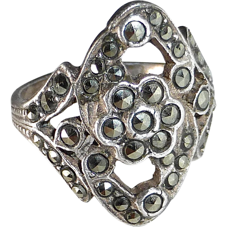 Art Deco Sterling Asymmetrical Pierced Marcasite Ring