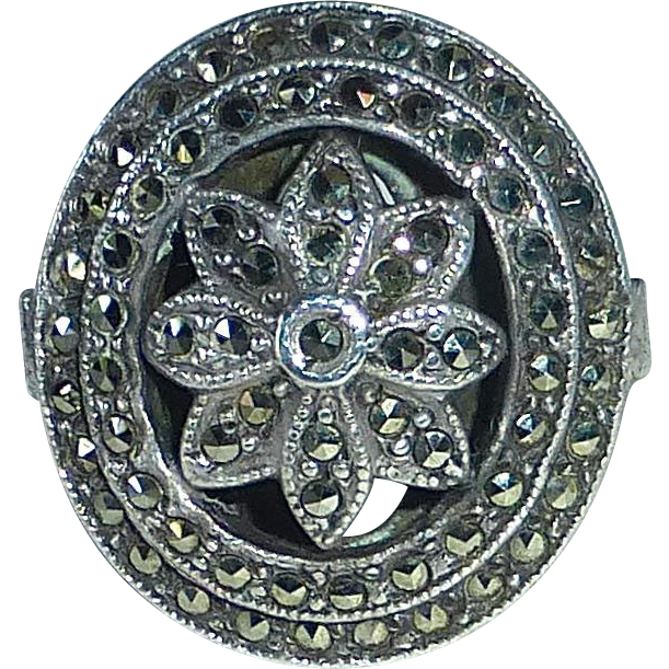 Art Deco Domed & Layered Sterling Marcasite Flower Ring