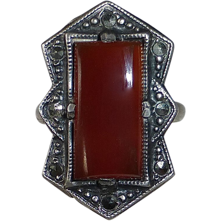Art Deco Sterling Marcasite Carnelian Ring