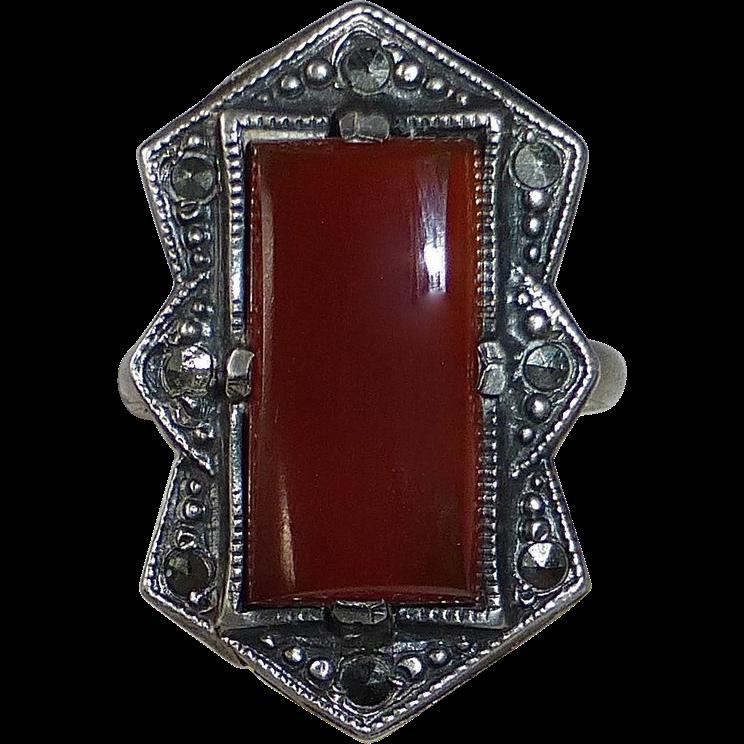Art Deco Sterling Marcasite Carnelian Ring
