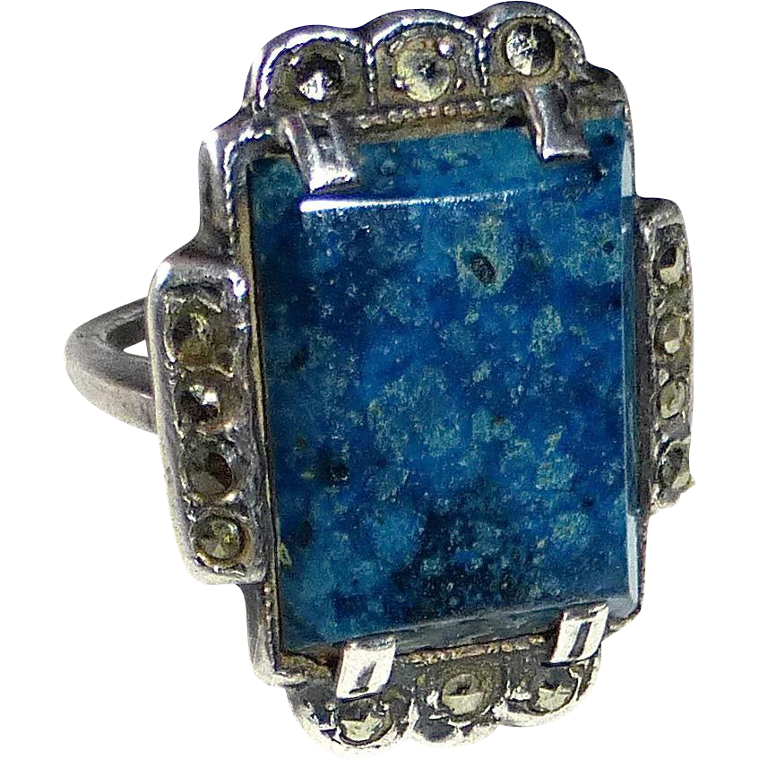Art Deco Sterling Marcasite Sodalite Ring