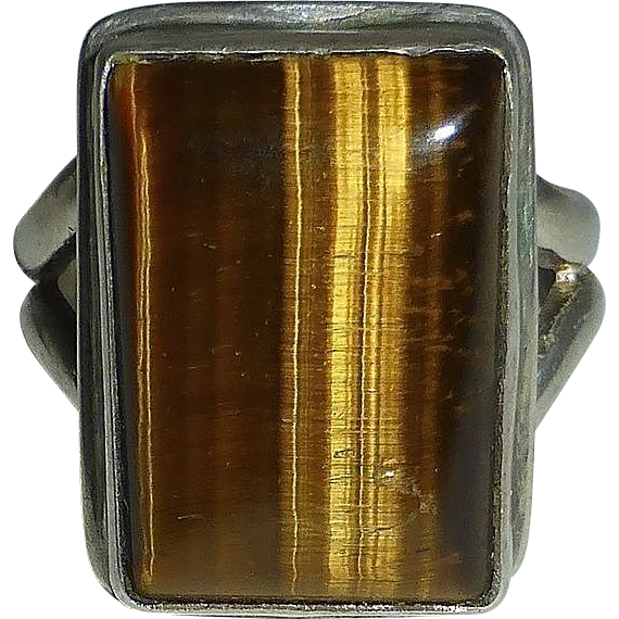 Sterling Tiger Eye Handcrafted Ring