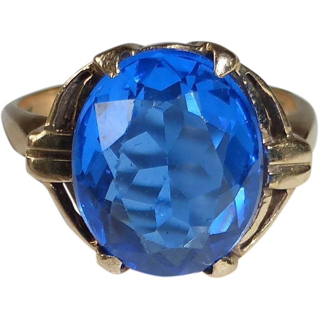 14k Faceted Synthetic Sapphire Ring