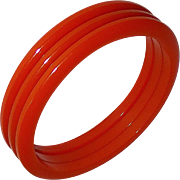 Set of 3 Orange Bakelite Bangle Bracelets