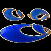 Modernist Norway OPRO Gilt Sterling Blue Enamel Pin & Earrings Set