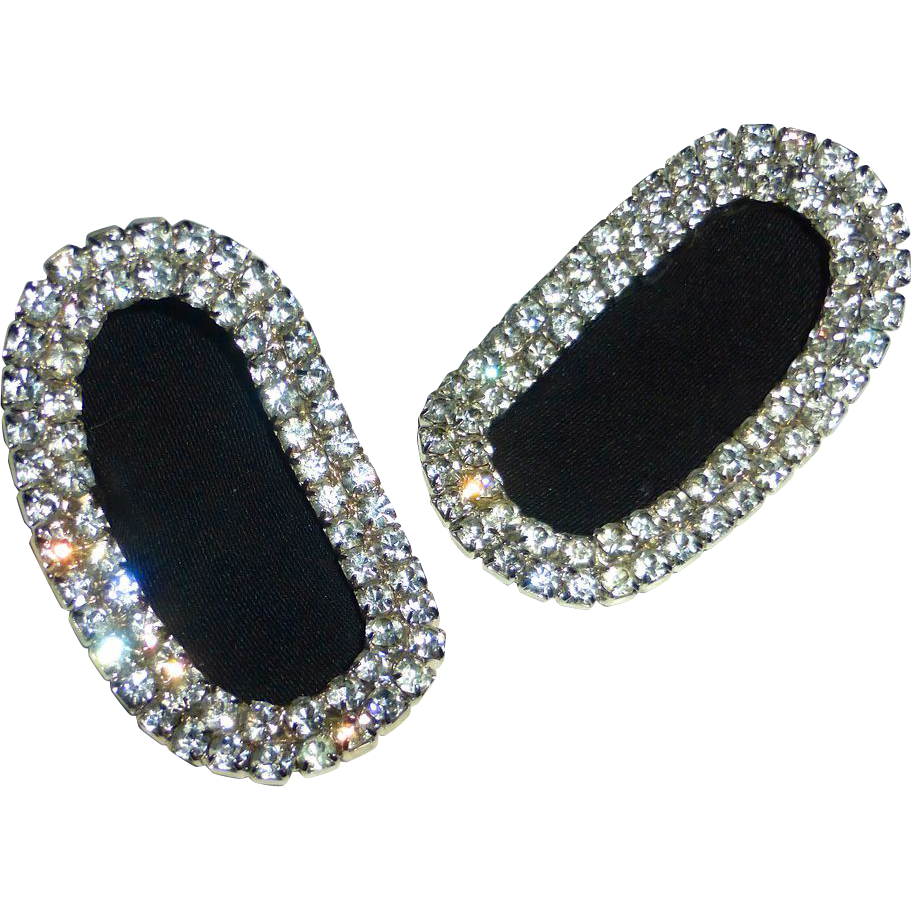 Vintage Rhinestone Curved Oval Shoe Clips