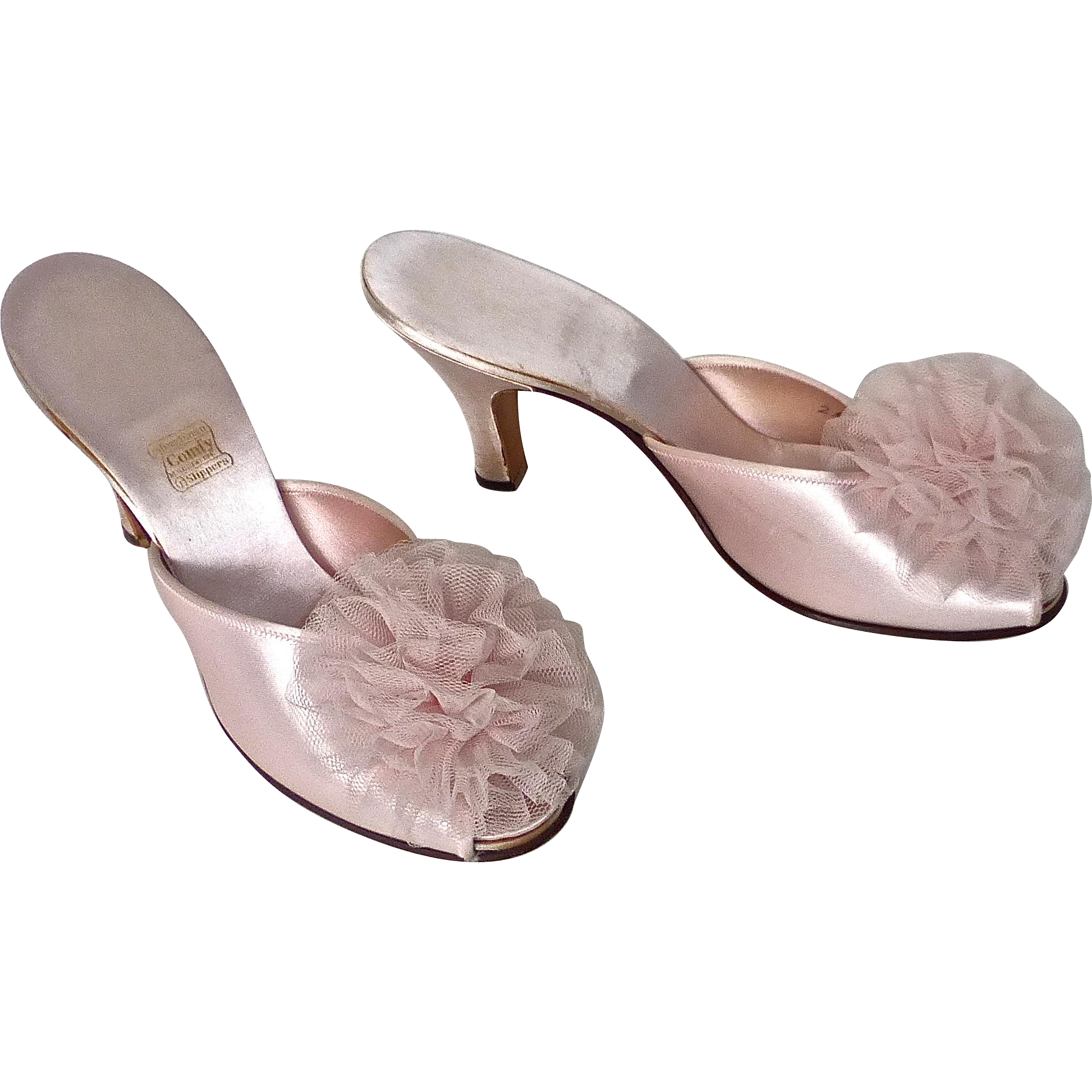 1930's daniel green pink satin tulle pom pom slippers - red tag