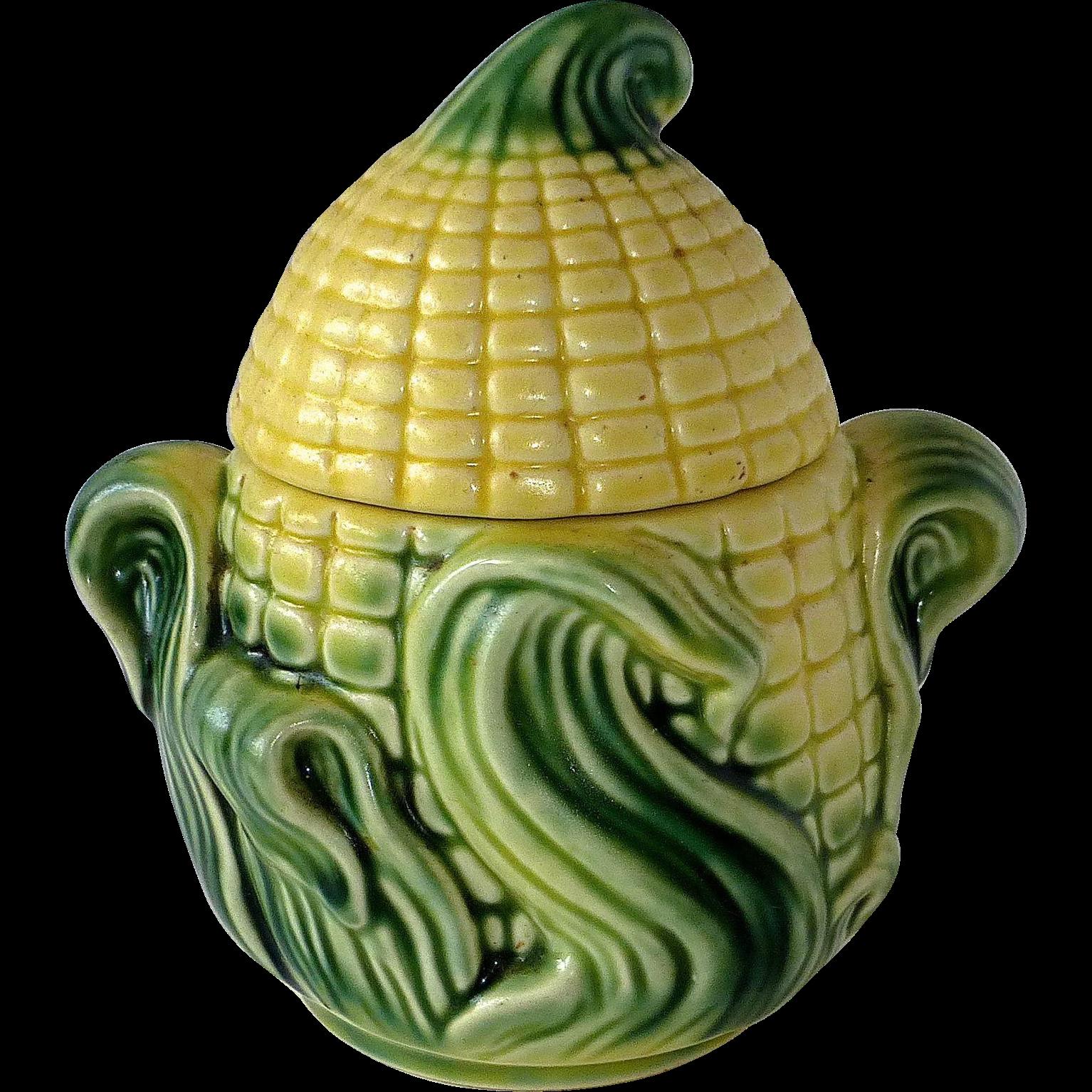 Figural Corn Ceramic Lidded Sugar Bowl