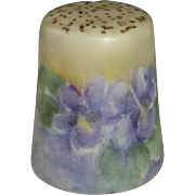 Hand Painted Violets Signed Porcelain Thimble