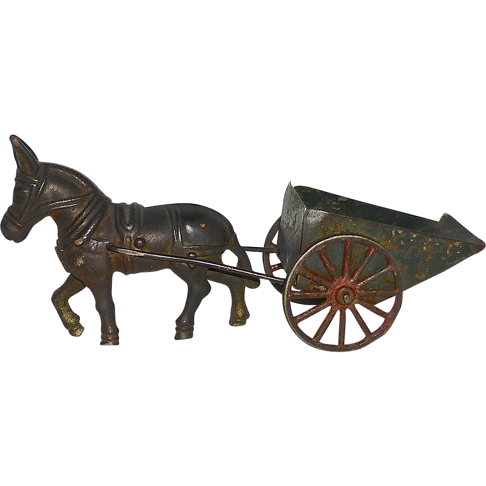 19thC Cast Iron Toy Horse & Tin Cart~ Rolling Wheels