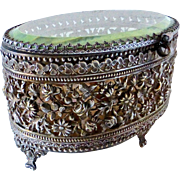 Filigree & Beveled Glass Trinket Box w Original Silk Liner