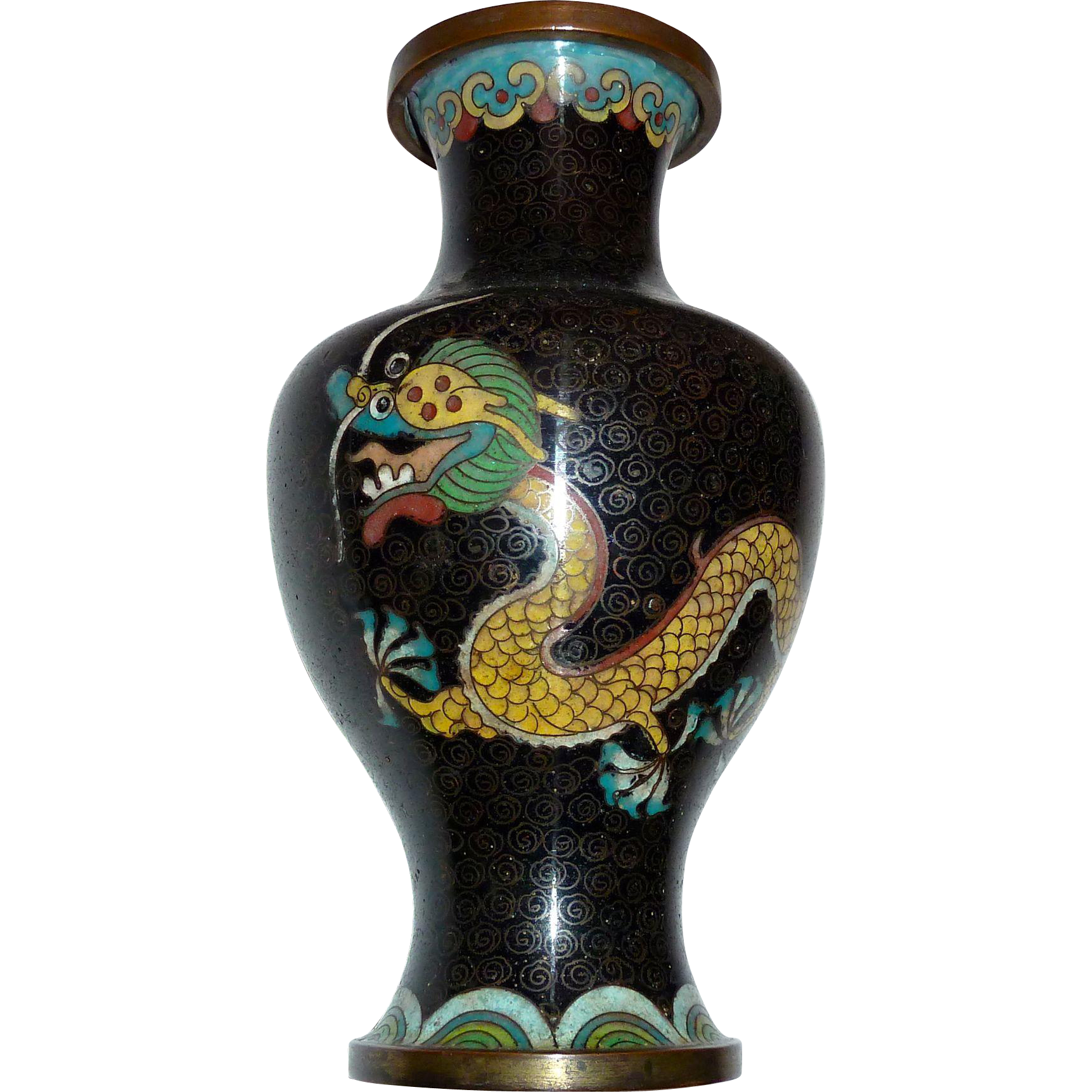 Chinese cloisonne enamel double dragon vase bejewelled ruby lane reviewsmspy