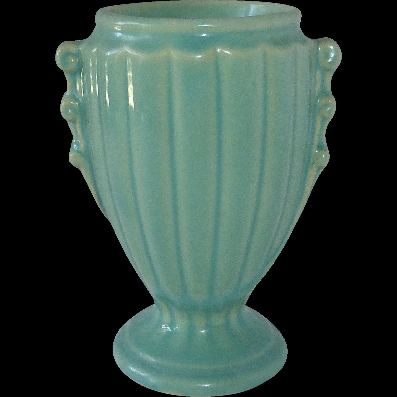 art deco aqua blue small vase sold on ruby lane. Black Bedroom Furniture Sets. Home Design Ideas