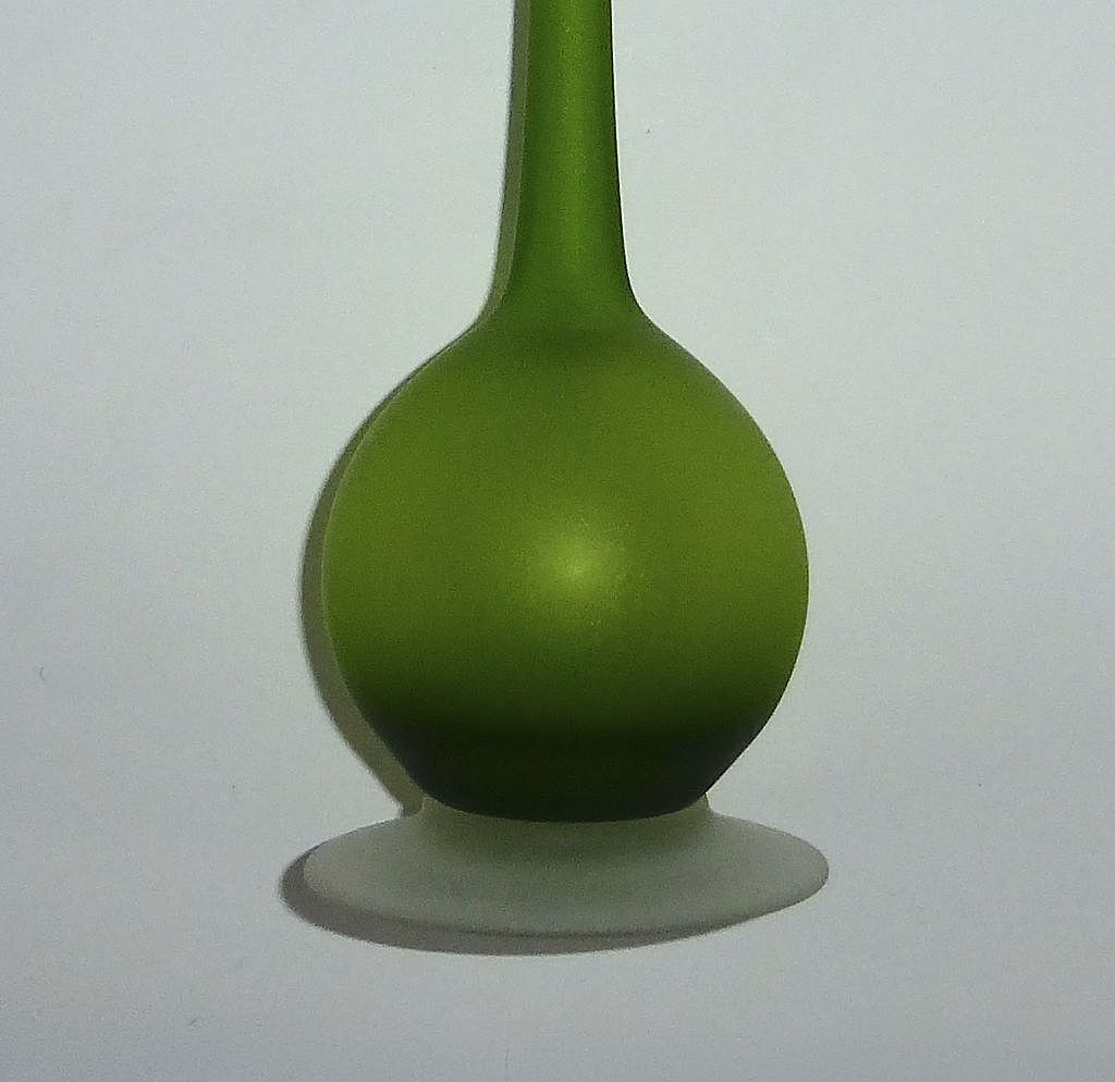 mid century modern rosenthalnetter green satin glass bud vase  - roll over large image to magnify click large image to zoom