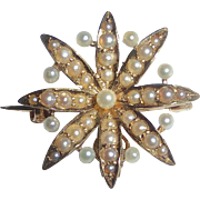 Antique 14k & Seed Pearl Watch Pin/Pendant
